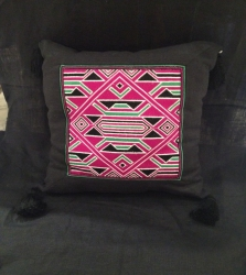 Embroided black cushion M
